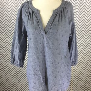 Skies are blue chambray peasant style tunic
